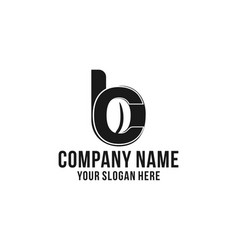 initial b c for coffee bean shop logo design vector image