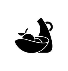 Irregular shape tableware black glyph icon vector