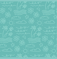 island seamless pattern in summer mood vector image