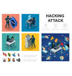 isometric hacker activity infographic template vector image