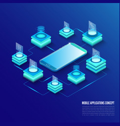 isometric mobile applications concept developing vector image