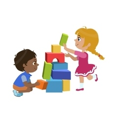 Kids Playing Bricks vector