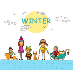 Kids playing outdoors in winter isolated vector