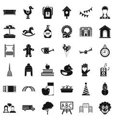 Kindergarten icons set simple style vector