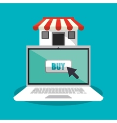 Laptop and shopping online design vector