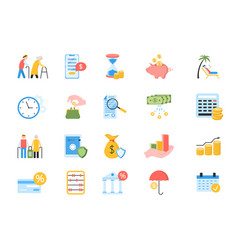 Large set colored icons for a pension plan vector