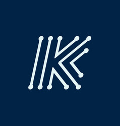 Letter k font maze italic geometric vector