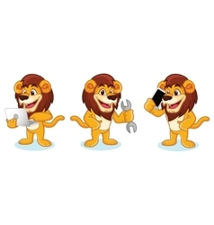 Lion Mascot with laptop vector