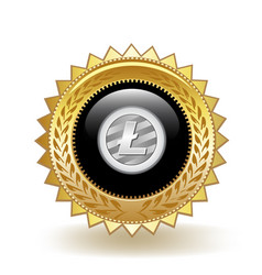 Litecoin cryptocurrency coin gold badge vector