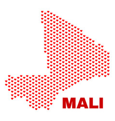 mali map - mosaic of valentine hearts vector image
