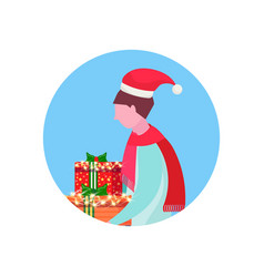 man wearing hat holding gift box happy new year vector image