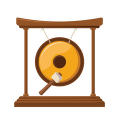 Metal gold gong icon design asian music and sound vector