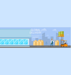 modern glass storage freight loading process vector image