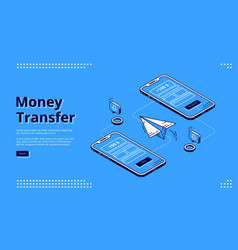 money transfer isometric landing page online bank vector image