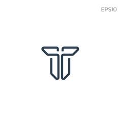 Monogram initial t t logo template black color vector