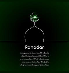moon mosque star dark green background vector image