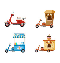 motorbike icon set cartoon style vector image