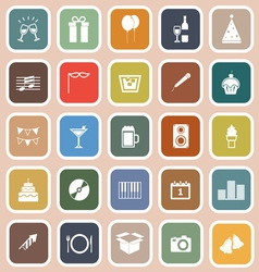 New year flat icons on orange background vector image