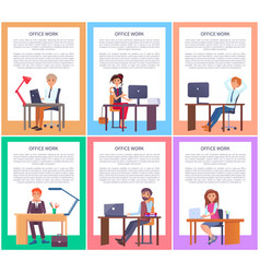 Office work posters set men women working tables vector