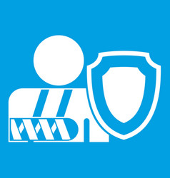 Oken arm and safety shield icon white vector