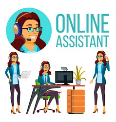 Online assistant european woman headphone vector