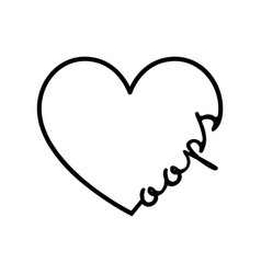 oops - calligraphy word with hand drawn heart vector image