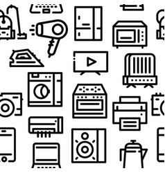 pattern of household appliances icons vector image