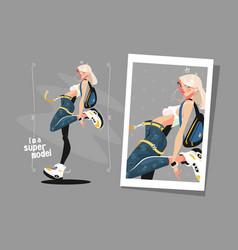 pretty blonde standing in sneakers vector image