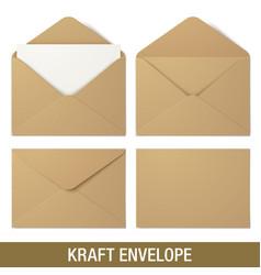 Realistic brown envelope mockups vector
