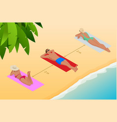 relaxing on beach during coronavirus vector image