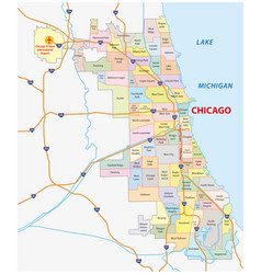 roads and city share map of chicago map vector image