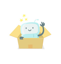 Robot toy in the box cute small new emoji sticker vector