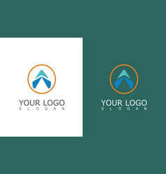 round arrow triangle logo vector image