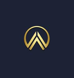 Round shape triangle shape gold logo vector