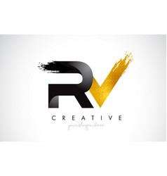 Rv letter design with brush stroke and modern 3d vector