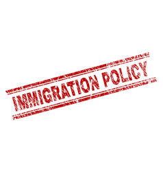 Scratched textured immigration policy stamp seal vector
