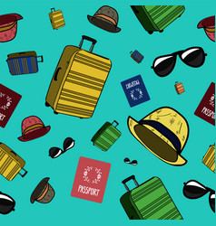 Seamless pattern with summer trip packing set vector