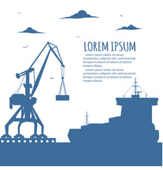 Seaport banner with port crane silhouette vector