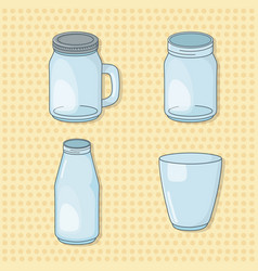 set glass beverages pots vector image