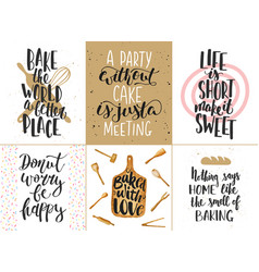 Set of bakery lettering posters greeting cards vector