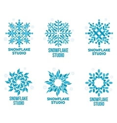 Set of geometrical abstract snowflake logo vector image