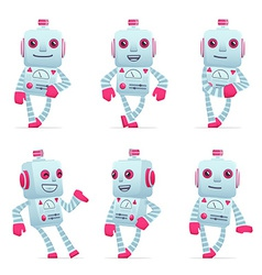 set of robot character in different poses vector image