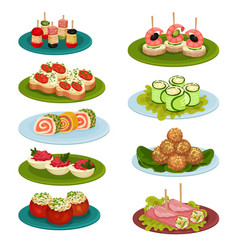 Set of various snacks for banquet appetizing food vector