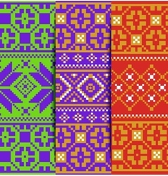 set winter knitted pattern vector image