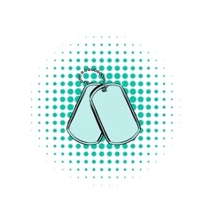 Soldier identity tag comics icon vector image