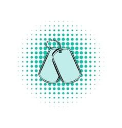 soldier identity tag comics icon vector image