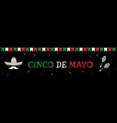sombrero and maracas cinco de mayo banner vector image
