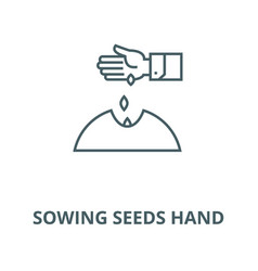 sowing seeds hand line icon linear concept vector image