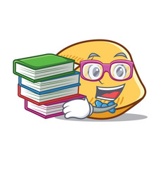 Student with book fortune cookie mascot cartoon vector
