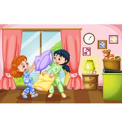 Two girls playing pillow fight vector